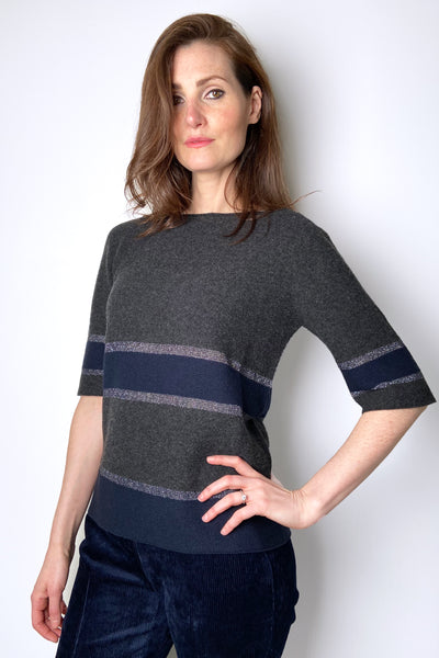 Fabiana Filippi Grey and Navy Colour Blocked Pullover