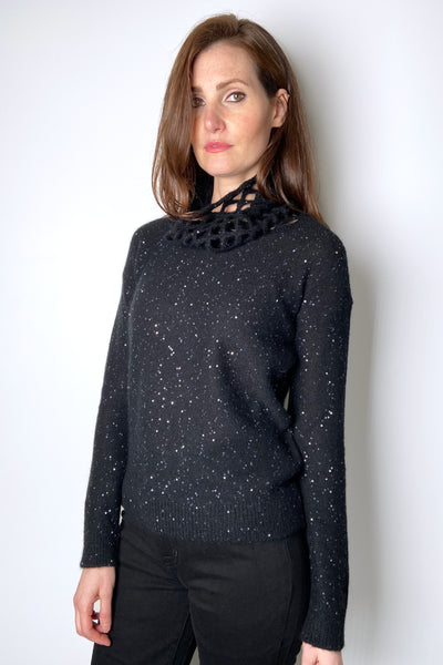 Fabiana Filippi Black Sequin Pullover with Loose Knit Neck