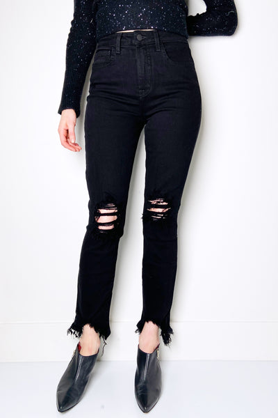 "L'Agence ""Saturated Black Destruct"" High Line Jeans"