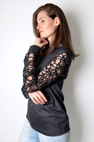Fabiana Filippi Dark Grey Shirt With Tulle and Embroidered Arms