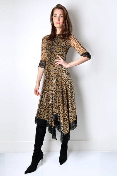 Fuzzi Leopard Print Tulle Dress with Lace Details