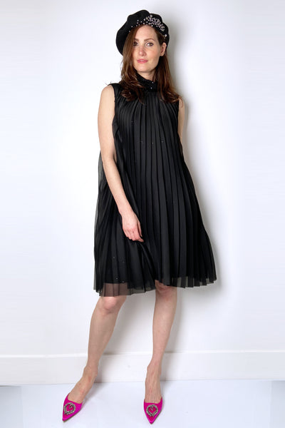 Fabiana Filippi Black Sequin Dress with Pleated Chiffon