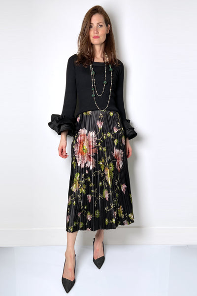Fuzzi Floral Satin Skirt