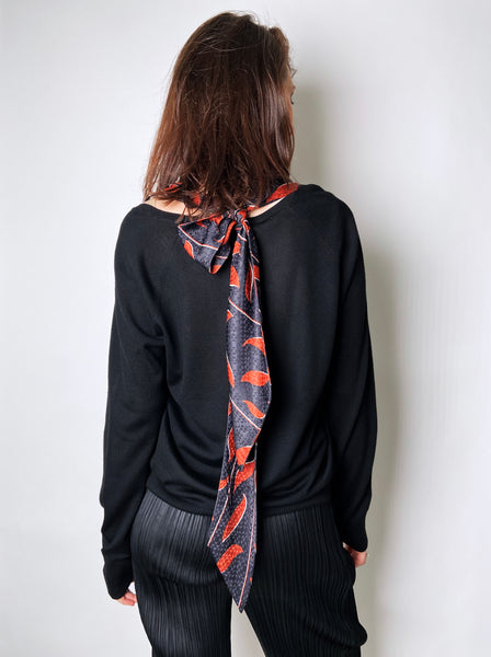Dorothee Schumacher Black Pullover with Scarf Detail