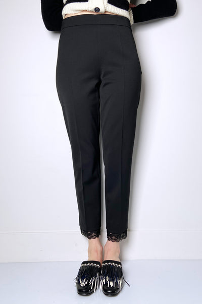 Fuzzi Black Trousers with Lace Hem