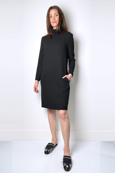 Antonelli Black Wool Crepe Shift Dress