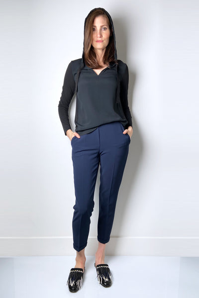 Antonelli Elastic Waist Navy Pants with Cuff