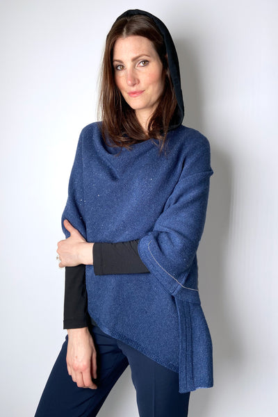 Rani Arabella Denim Blue Poncho with Sparkly Paillettes