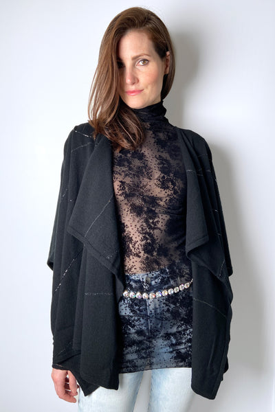 Lafayette 148 Black Cape with Brilliant Details