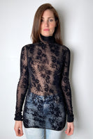 Fuzzi Sheer Black Turtleneck with Velvet Floral Print. (Last One, Size S)