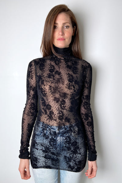 Fuzzi Sheer Black Turtleneck with Velvet Floral Print