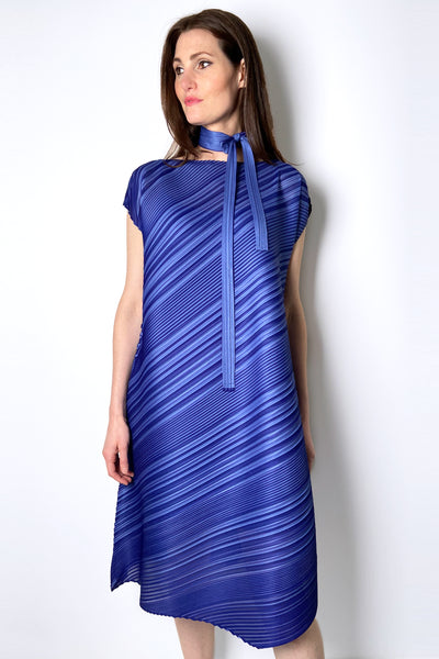 Pleats Please Dual Tone Dress With Tie. (Last One, Size 5)