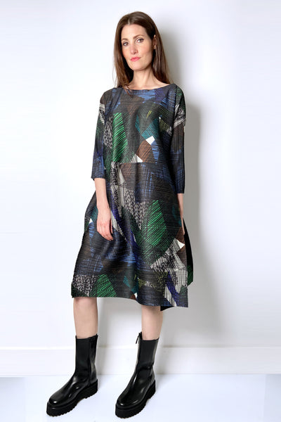 Pleats Please Abstract Forest Tones Dress