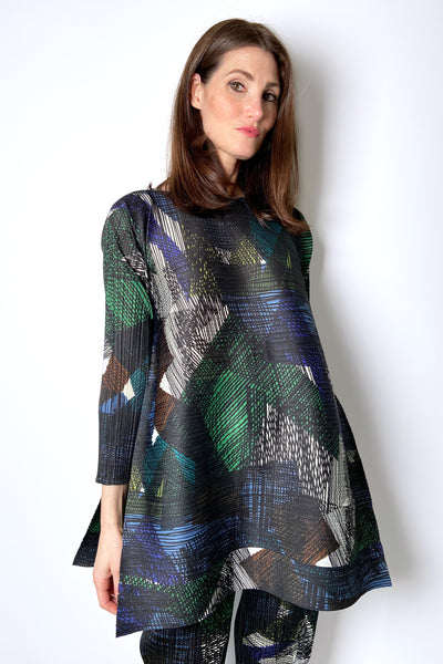 Pleats Please Abstract Forest Tones Tunic