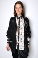 Boutique Moschino Long Moto Knit Jacket with Embroidery