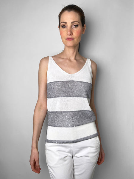 D. Exterior White and Grey Knit Tank Top with Sequins