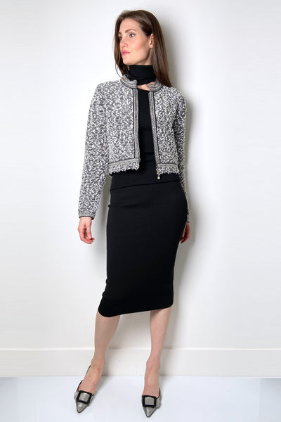 D. Exterior Black Knit Pencil Skirt