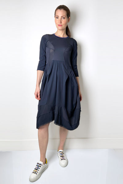 HIGH Navy Dress with Mesh Details