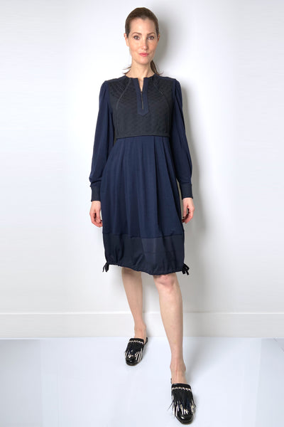 HIGH Navy Bubble Dress with Brocade Details