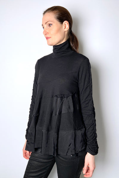 HIGH Textured Black Turtleneck