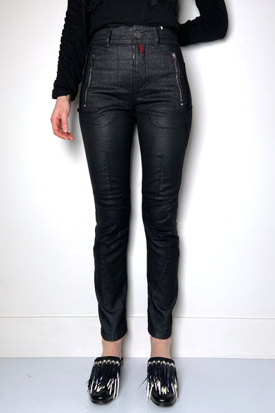 HIGH Black Coated Jeans