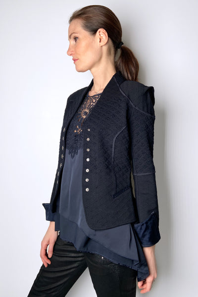 HIGH Navy Brocade Cardigan