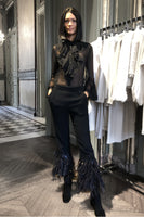 Alberta Ferretti Tweed Flared Pants with Ostrich Feathers