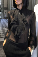 Alberta Ferretti Sheer Lace Silk Blouse