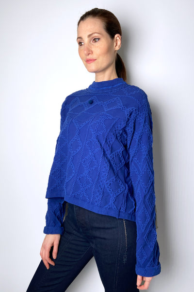 HIGH Textured Cobalt Blue Pullover