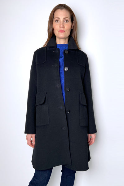 HIGH Black Wool and Cashmere Car Coat