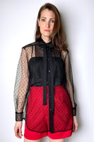 Red Valentino Transparent Polka-Dot Tulle Blouse
