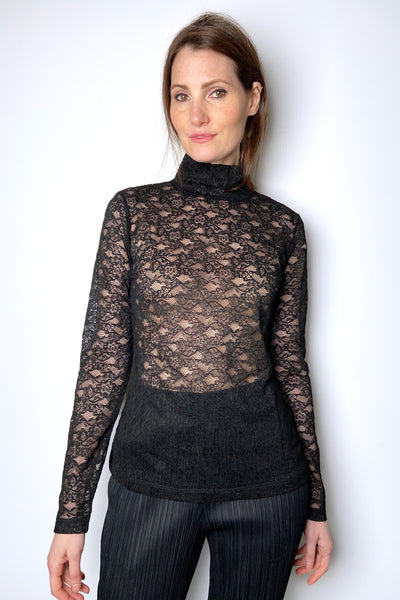 Red Valentino Black Transparent Lace Turtleneck