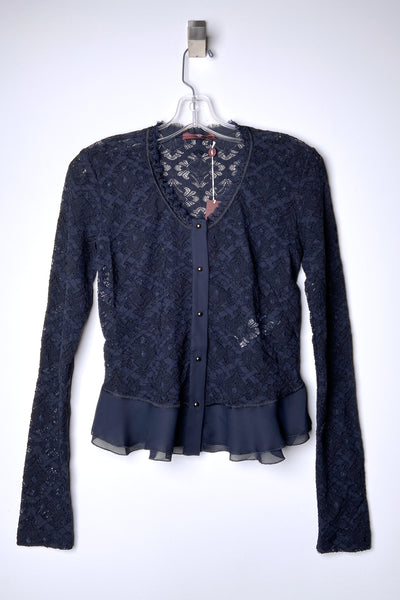 HIGH Navy Transparent Lace Cardigan