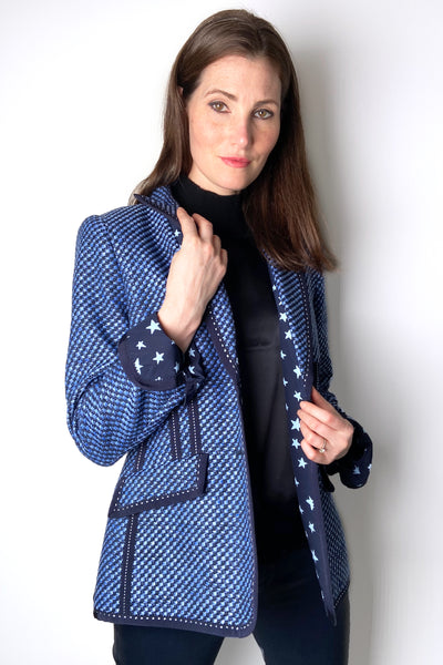 Maison Common Blue Tweed Blazer