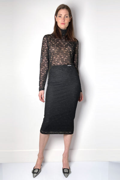 Red Valentino Lace Pencil Skirt