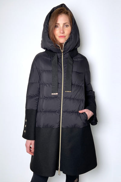 Herno Black Puffer Coat with Gold Details