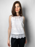 D. Exterior White Tribal Lace Top