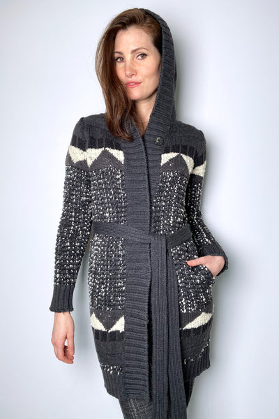 Lorena Antoniazzi Grey and White Knit Hooded Cardigan