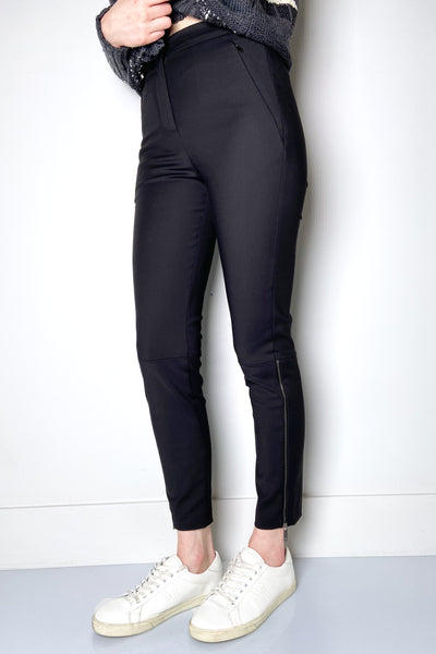 Lorena Antoniazzi Black Techno Stretch Pants with Zippers