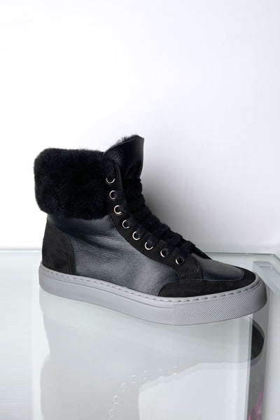 Lorena Antoniazzi Soft Black Leather High Top