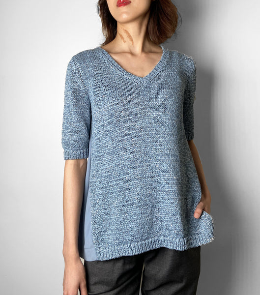 D. Exterior Blue Knit Top With Swing Back