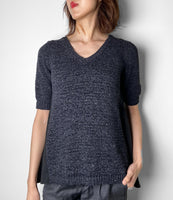 D. Exterior Black Knit Top With Swing Back