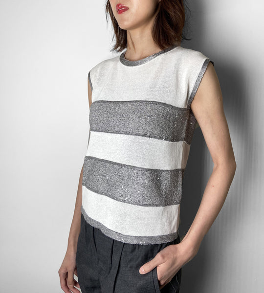 D. Exterior White and Silver Cap Sleeve Knit Top.  (Last One, Size XL)