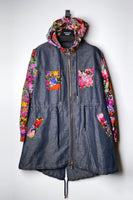 Boutique Moschino Chambray and Flower Print Jacket