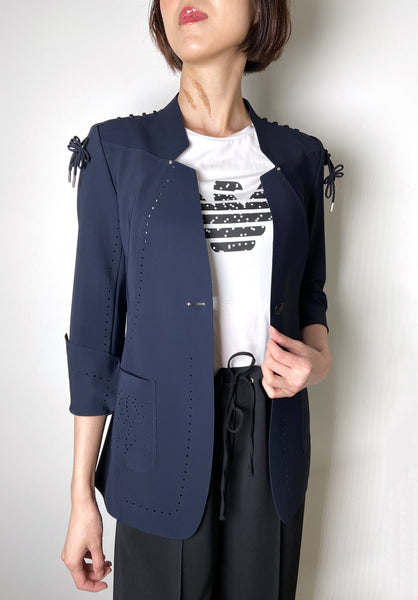 High Navy Blazer With Shoulder Detail. (Last One, Size 50)