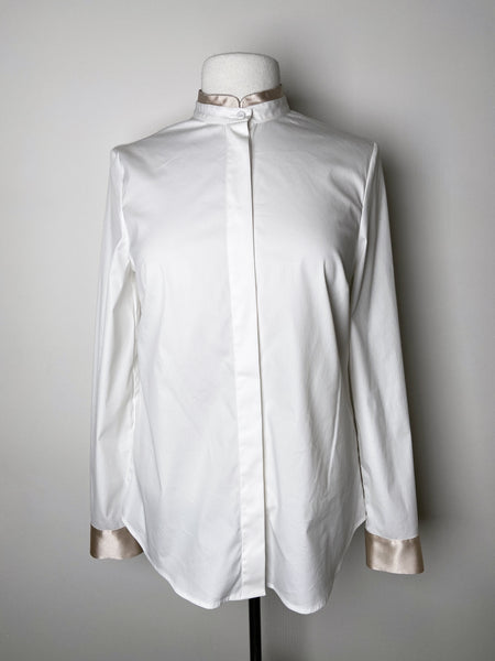 Peserico White Blouse With Gold Collar