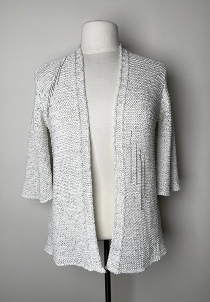 Rani Arabella White Cardigan With Subtle Beaded Tassels. (Last One, Size L)