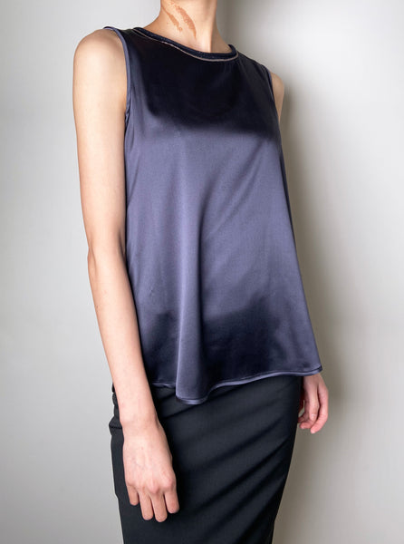 Peserico Navy Sleeveless Silk Top. (Last One, Size 46)