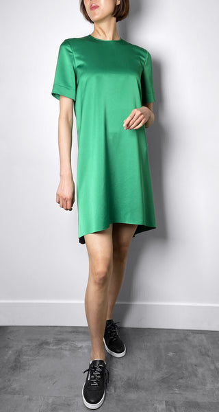 Cedric Charlier Green Satin Dress
