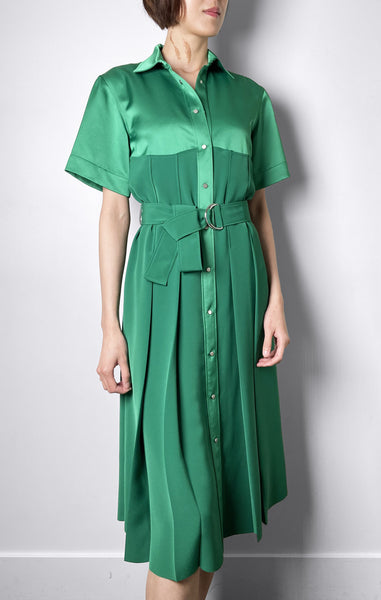 Cedric Charlier Satin Green Shirt Dress. (Last One, Size 42)